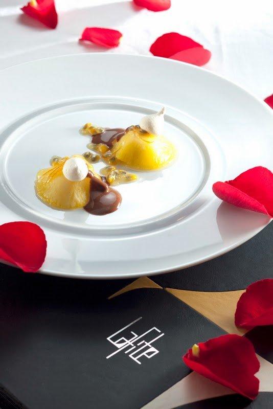 Passion Fruit Mousse with Pineapple Leaves, Chocolate Sauce & Lemon, Shangri-La Kuala Lumpur