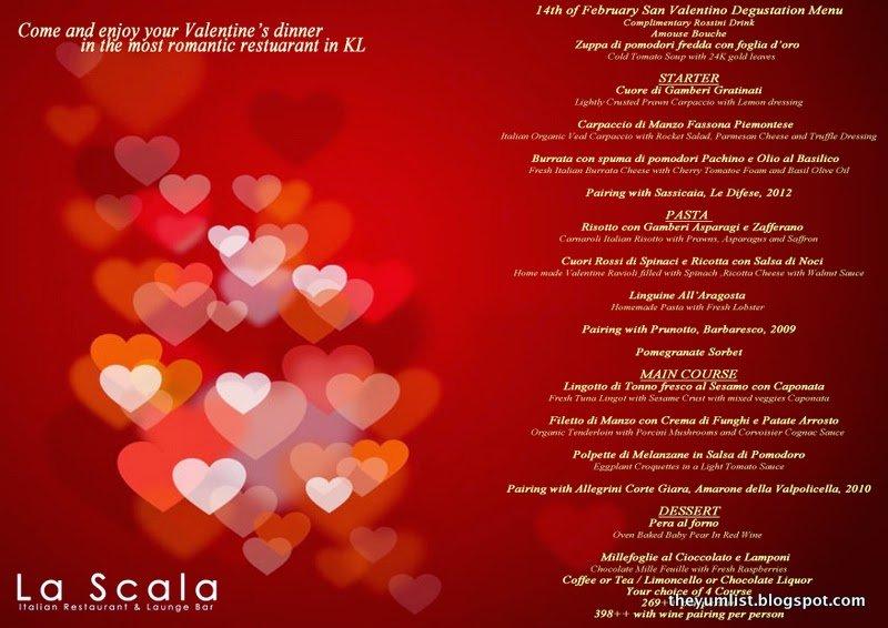 La Scala, Valentine's Menu, Kuala Lumpur
