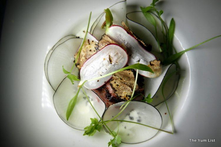 Wagyu Tri-Tip Tataki with Truffle Mascarpone and Olive Soil