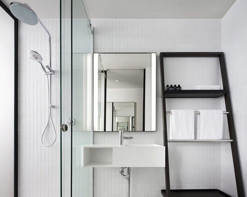 Bright white bathroom at the Little National Hotel, Barton, Canberra, Australia.