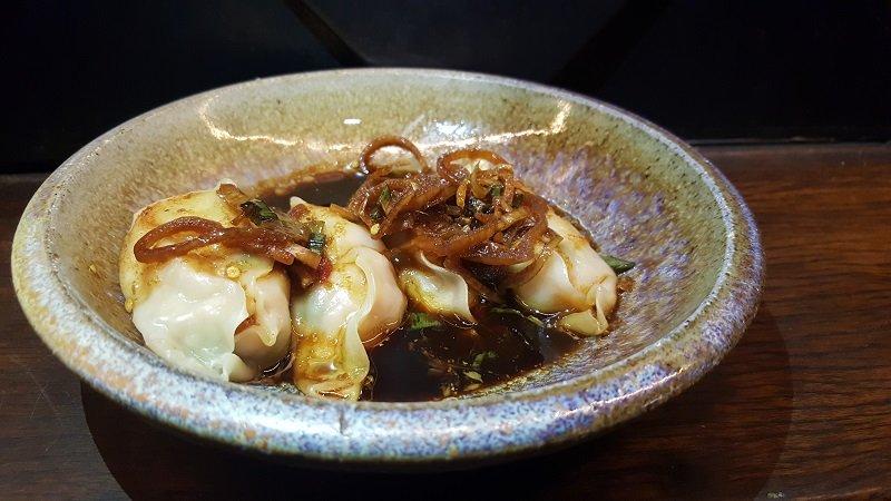 Steamed prawn and chicken dumplings with black vinegar dressing - Akiba, Canberra, Australia